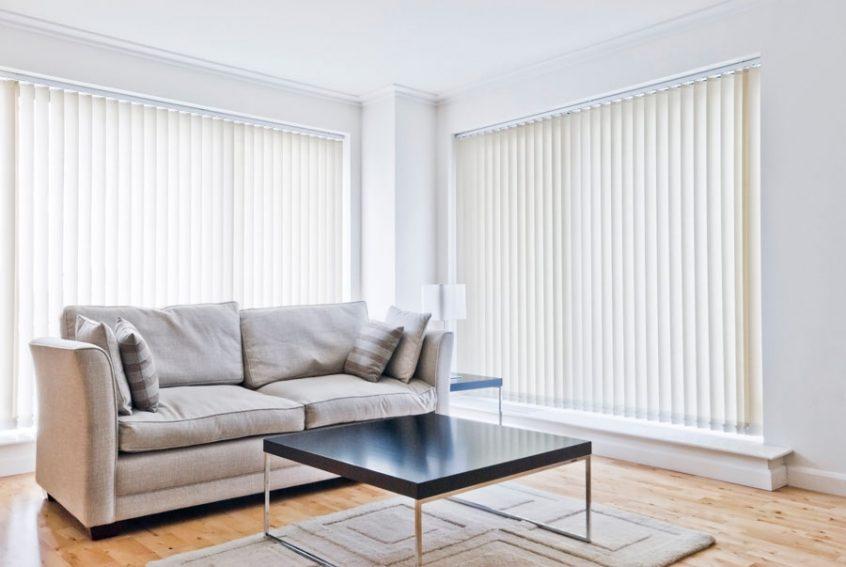 White Vertical Living Room Blinds - window coverings rexburg